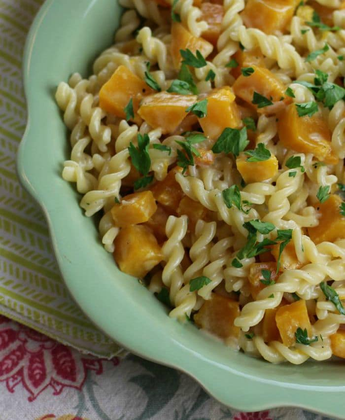 butternut squash pasta with parsley