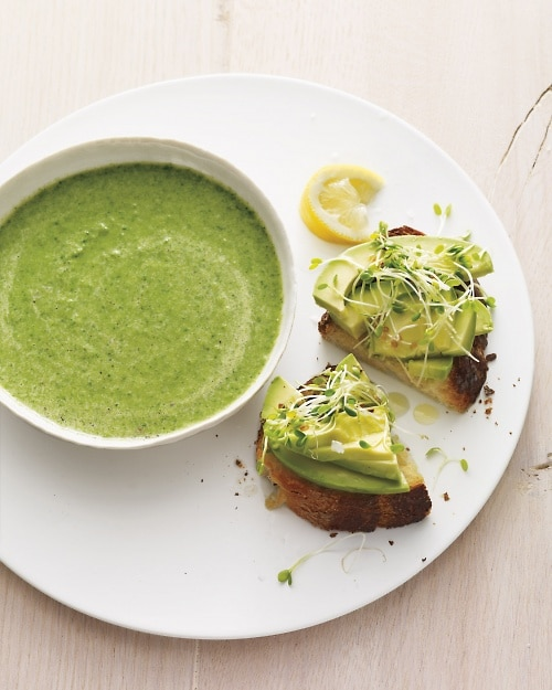 Broccoli Spinach Soup with Avocado Toast from Martha Stewart