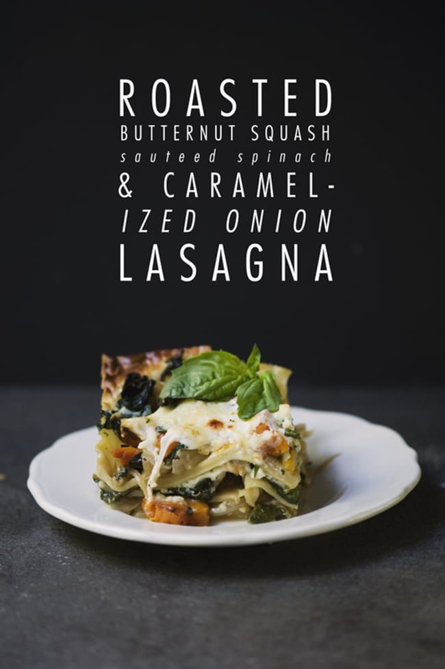Butternut Squash Recipes Roasted Butternut Squash with Spinach and Caramelized Onion Lasagna