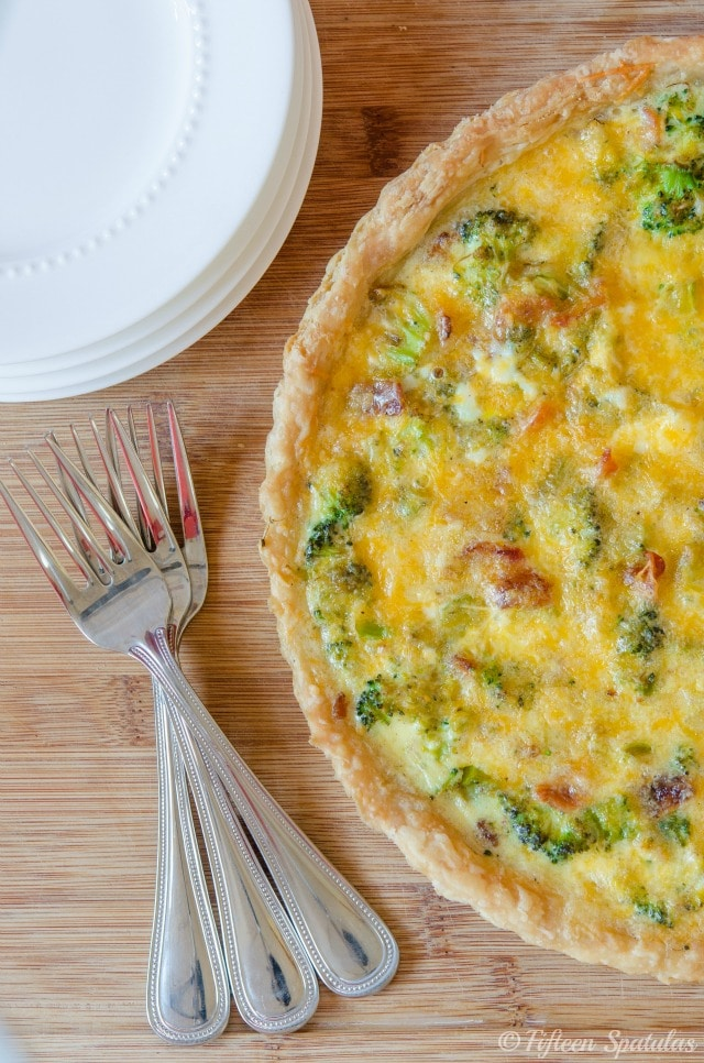 Cheesy Broccoli Bacon Quiche from Savory Simple
