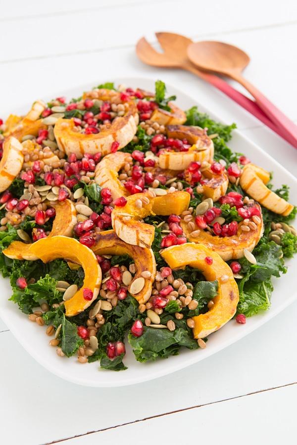 Friendsgiving Salad with Delicata Squash and pomegranate