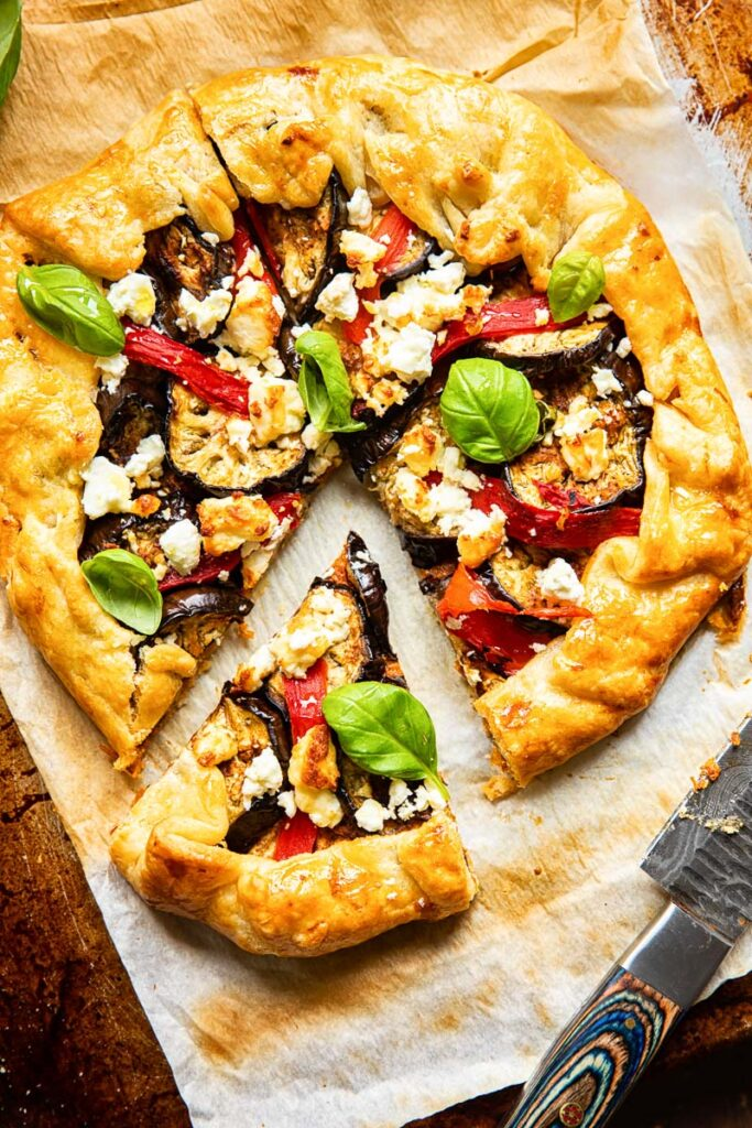 mediterranean galette with grilled eggplant and basil