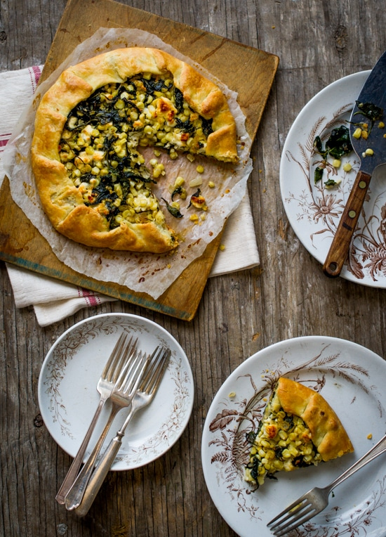 Kale Corn and Feta Galette
