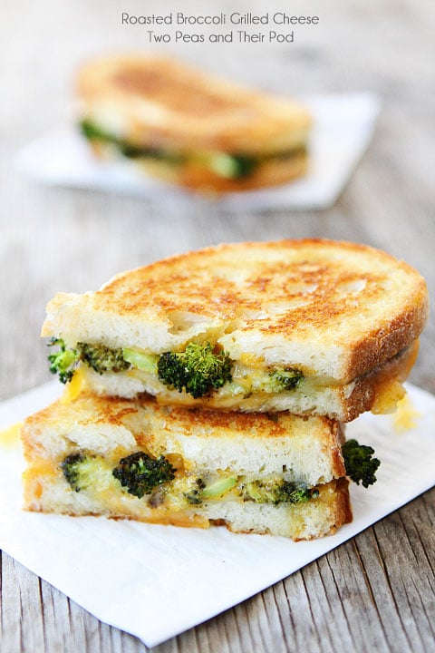 Roasted Broccoli Grilled Cheese from Two Peas and their pod