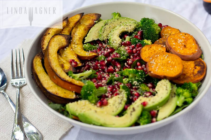 No Processed Carbs and Limited Dairy Meal Plan: Roasted Vegetable Salad with Avocado, Pomegranate, Sweet Potato, Acorn Squash and Broccoli