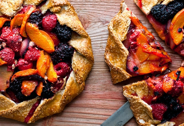 mixed fruit and hazelnut apricot galette