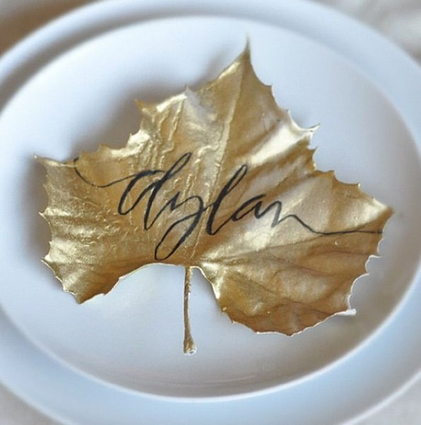 painted leaf place card