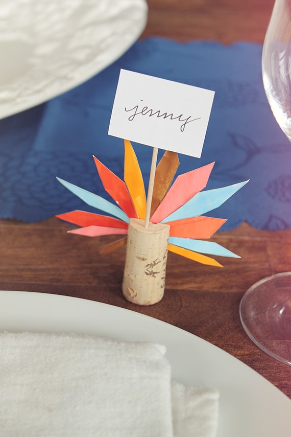 turkey feather place card