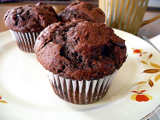 Chocolate Chocolate Chunk Muffins from Brown Eyed Baker