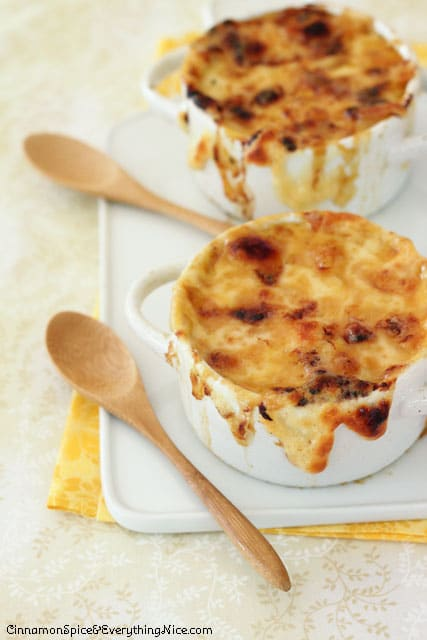 French Onion Butternut Squash Soup with Gruyere