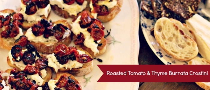 Tomato & Thyme Burrata Crostini
