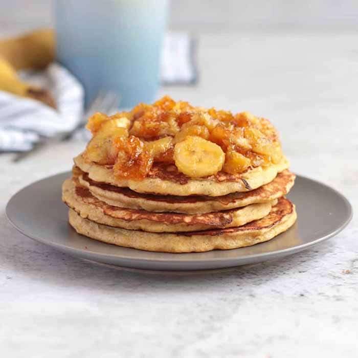 sugar free three ingredient banana pancake stack