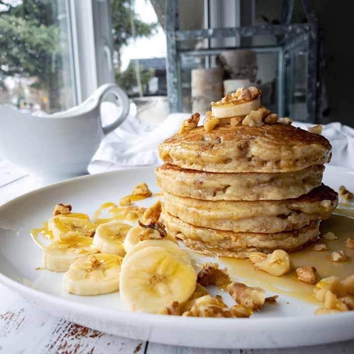 creative pancake ideas - walnut ricotta buttermilk pancake stack