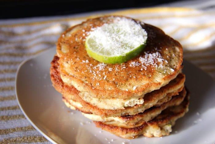 coconut chia lime pancakes - unique pancake recipes