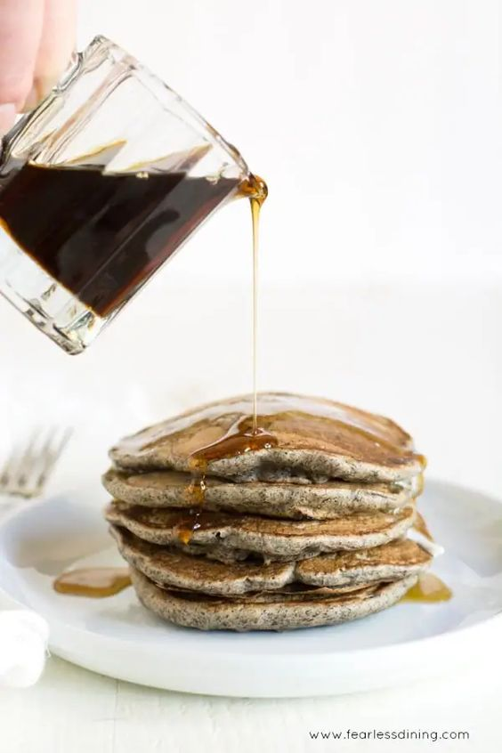gluten free buckwheat pear pancake stack with syrup
