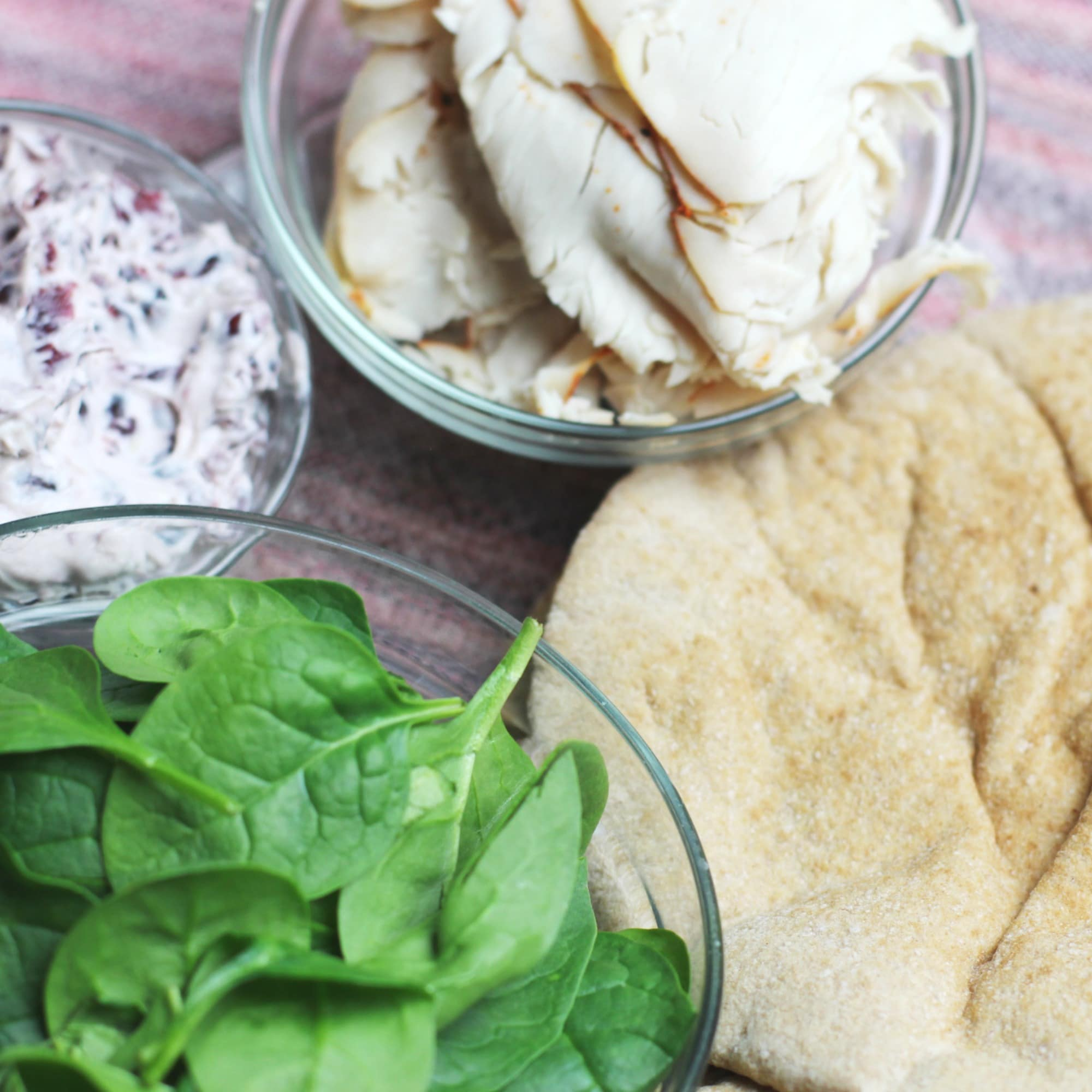 Ingredients Pita, Spinach, Turkey, Cranberry Cream Cheese.jpg