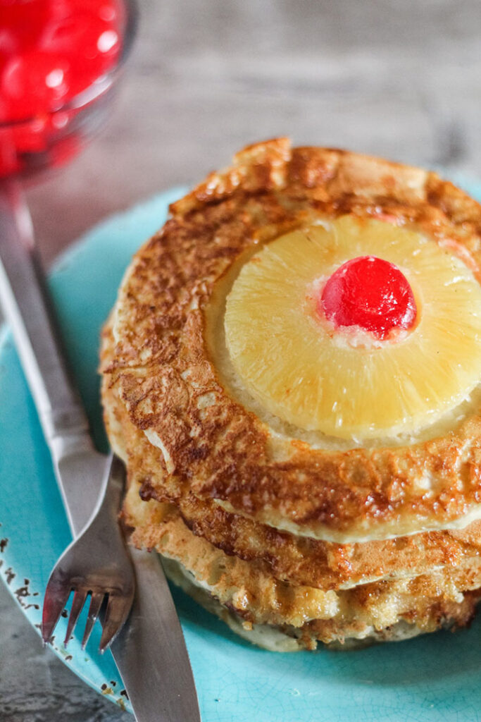 pineapple upside down cake pancakes