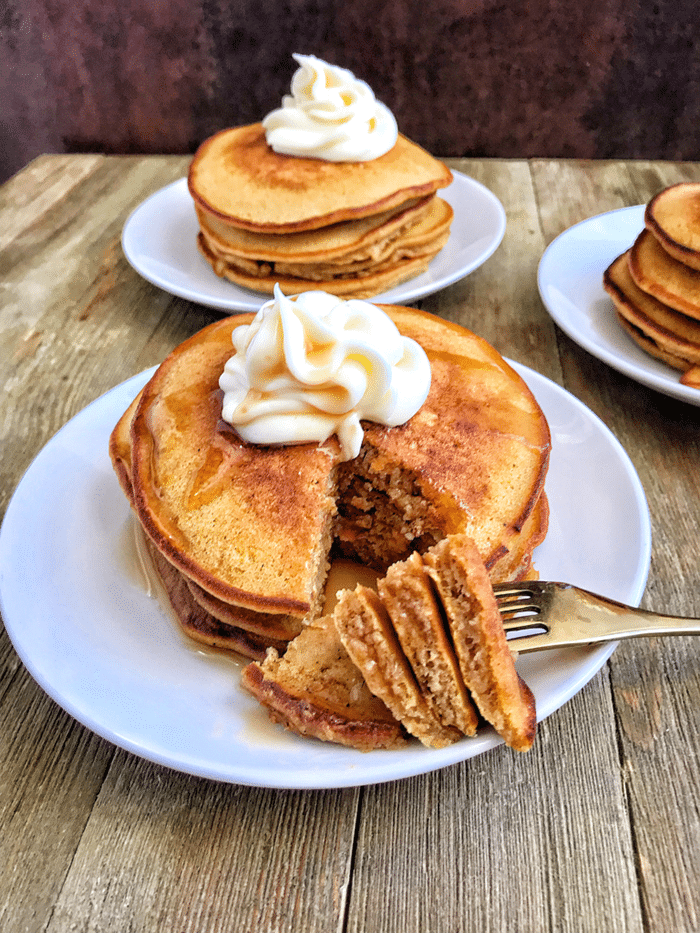 pumpkin cheesecake pancakes with cream cheese topping
