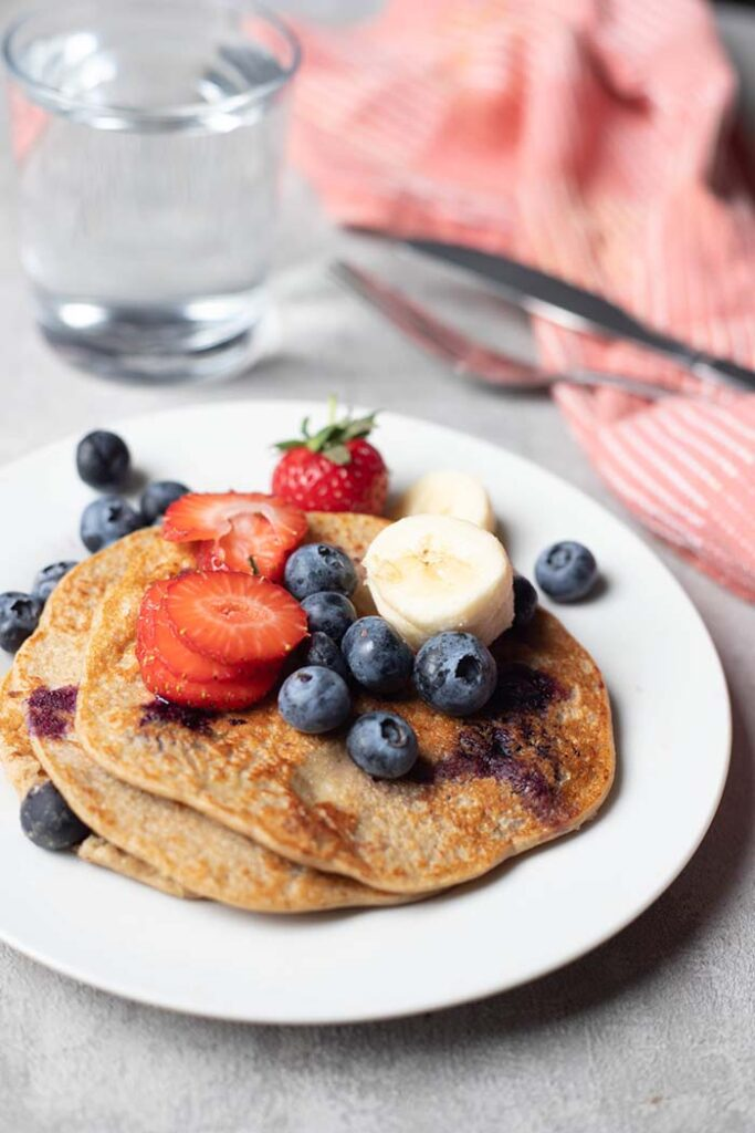 unique quark banana pancakes with blueberries banana and strawberries