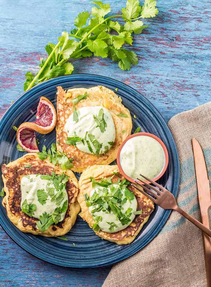 savory masa pancake plate