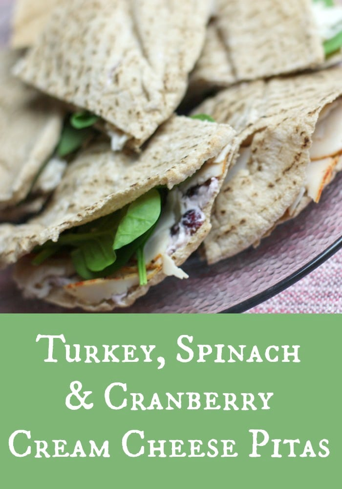 Turkey, Spinach and Cranberry Cream Cheese Pitas Recipe on Rainbow Delicious.jpg