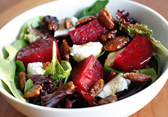 baby greens with goat cheese and beets