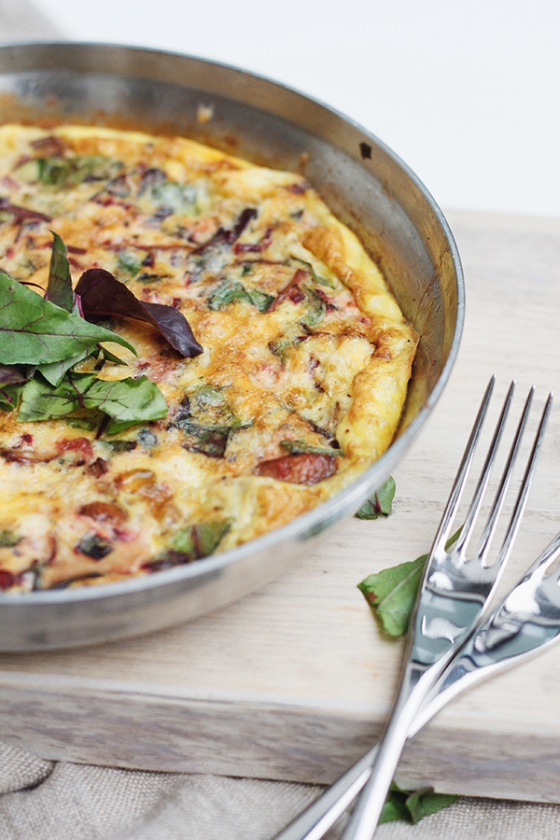 beet green and mushroom frittata from fig and honey
