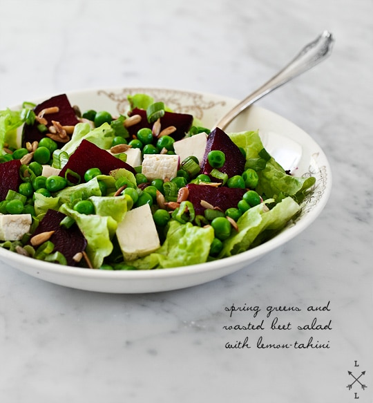 beet salad with peas and scallions
