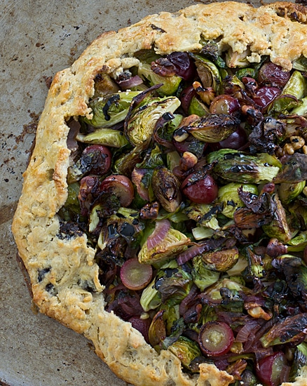brussels sprouts and grape galette