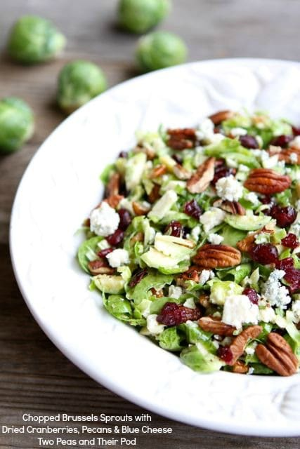 chopped brussels sprouts with dried cranberries, pecans and blue cheese