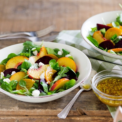 roasted beet and peach salad