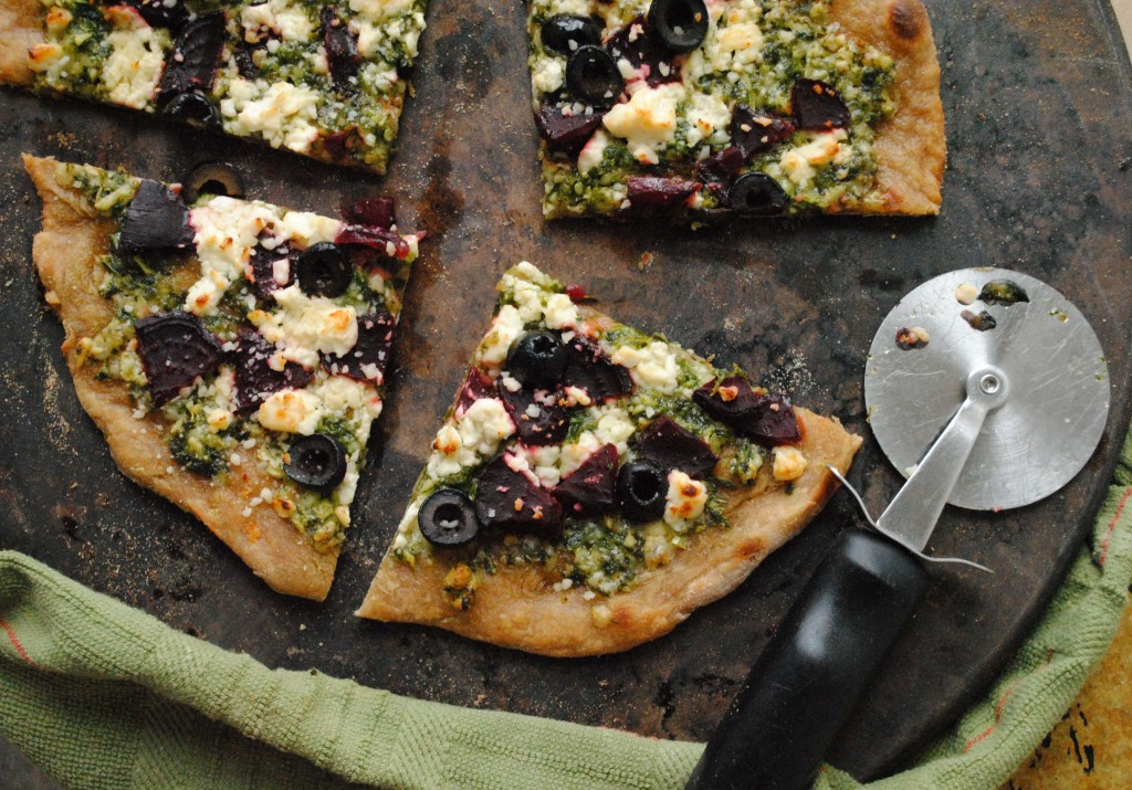 whole wheat winter pizza with arugula pesto and beets