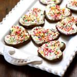 gingerbread cookies on platter with rainbow sprinkles
