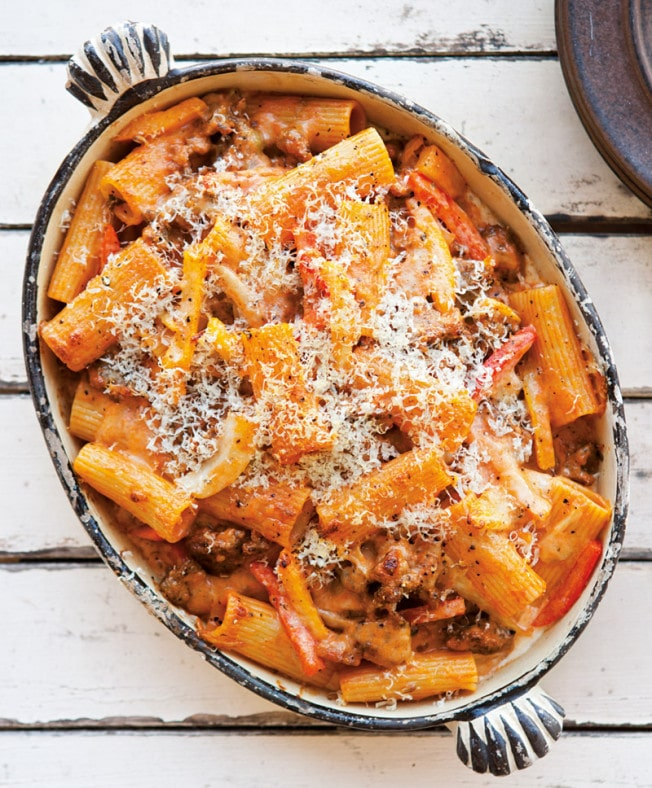 baked rigatoni with fennel sausage pepperonata