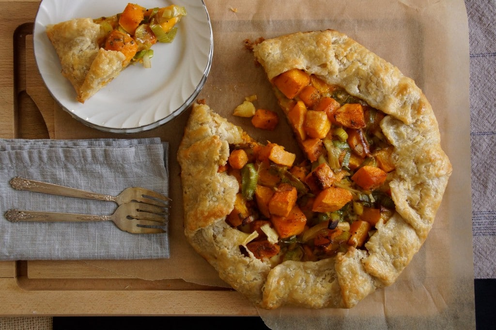 butternut squash leek and brie galette