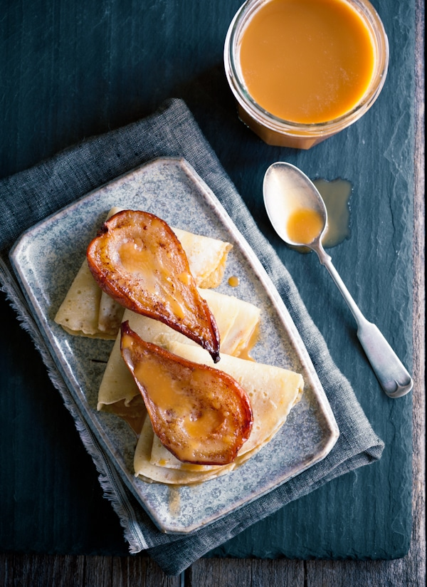 cajeta with roasted pear crepes