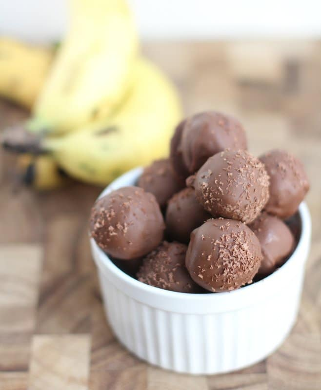 homemade truffles- chocolate dipped banana bread truffles