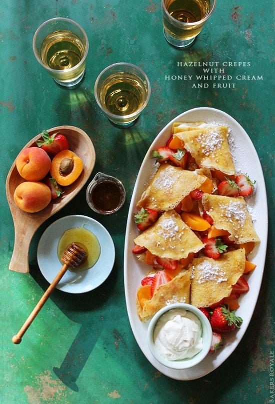 Sweet Crepe Recipes : hazelnut crepes with honey whipped cream and fruit