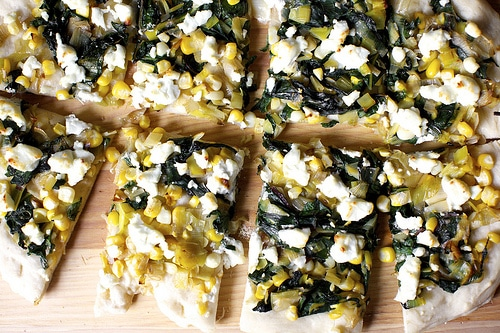 leek chard and corn flatbread