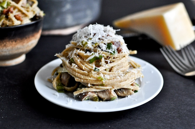 portobello and leek carbonara