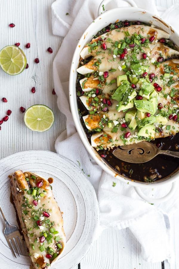 Enchilada Recipes : cheesy sweet and sour pomegranate thai chicken enchiladas