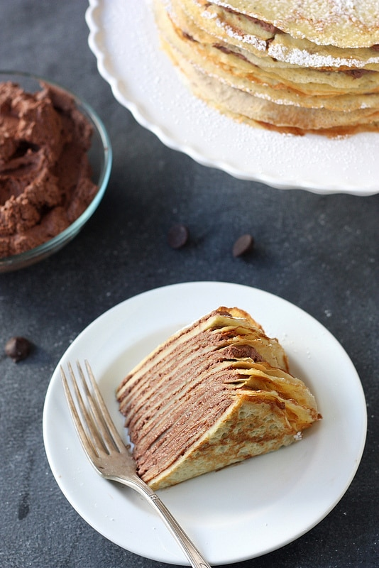crepe cake with whipped chocolate ganache