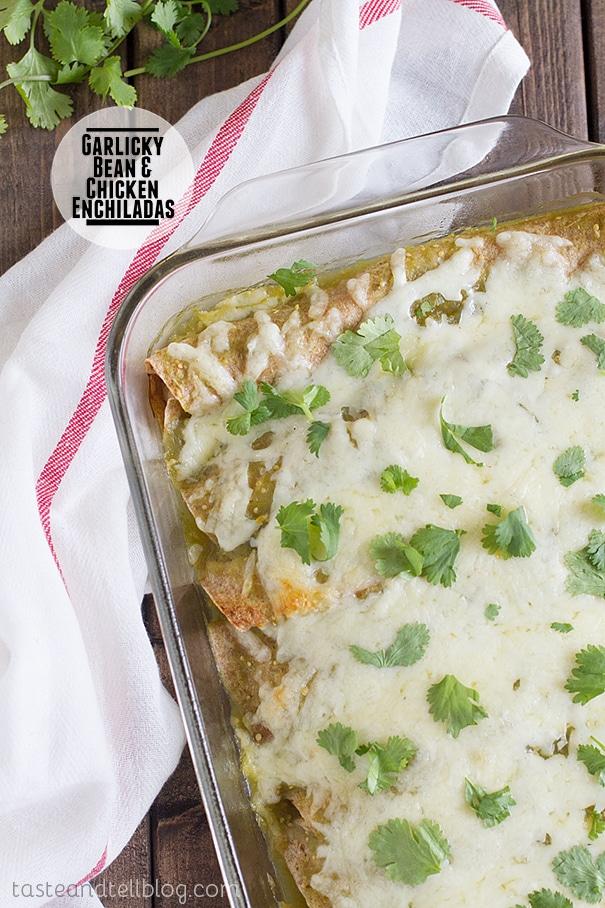Enchilada Recipes : garlicky bean and chicken enchiladas