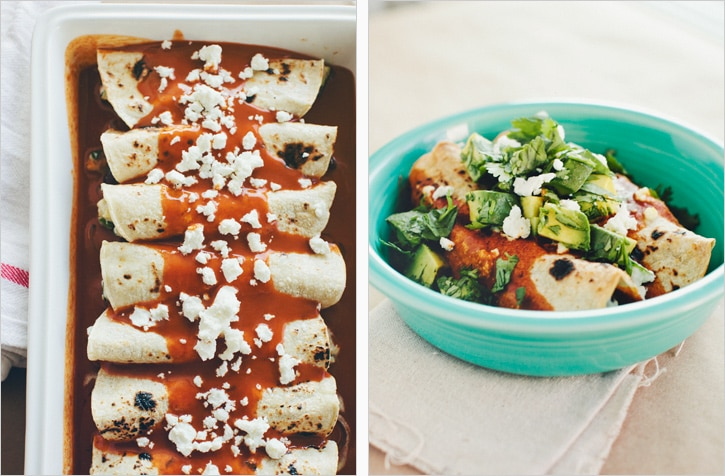roasted zucchini black bean and goat cheese enchiladas