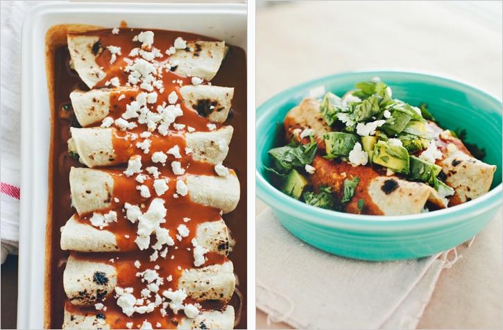 Vegetarian Enchilada Recipes : roasted zucchini black bean and goat cheese enchiladas