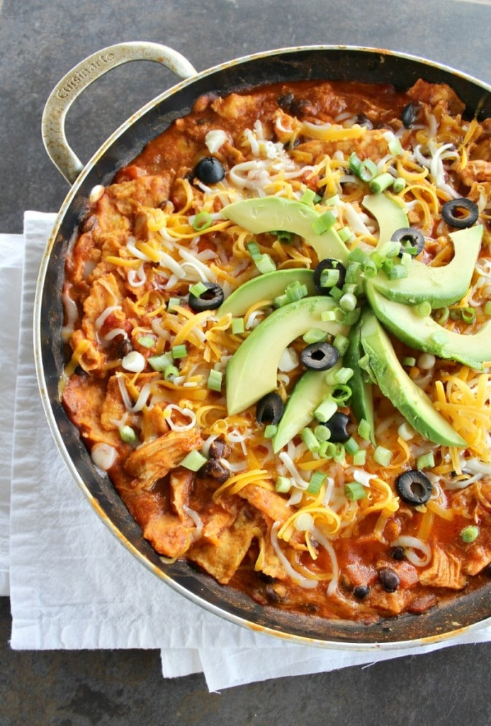 Easy Spring Dinner Ideas   Chicken Enchiladas Skillet