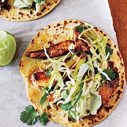 ancho chicken tacos with cilantro slaw and avocado cream