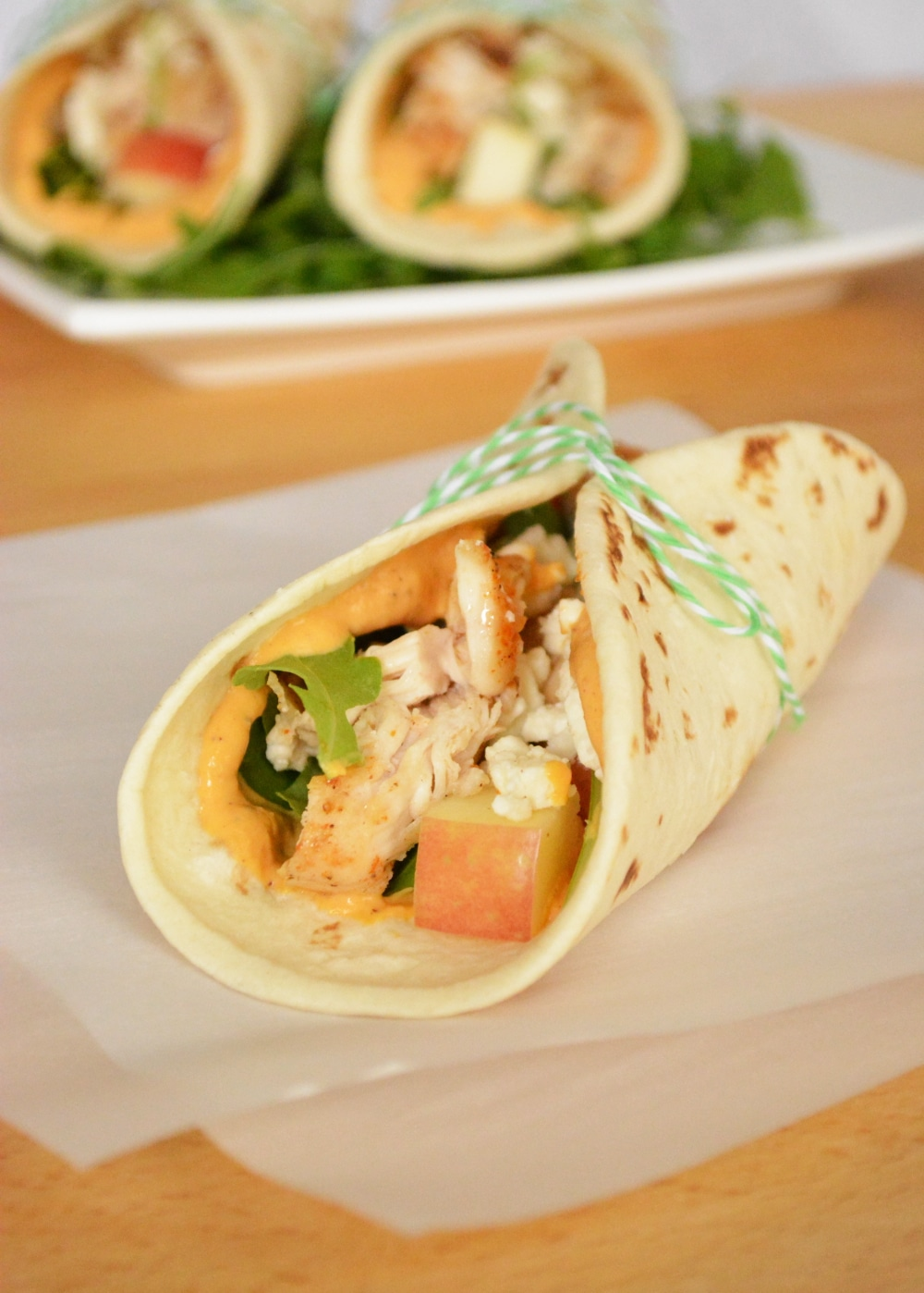 taco recipes: apple and chicken tacos with pumpkin mayo