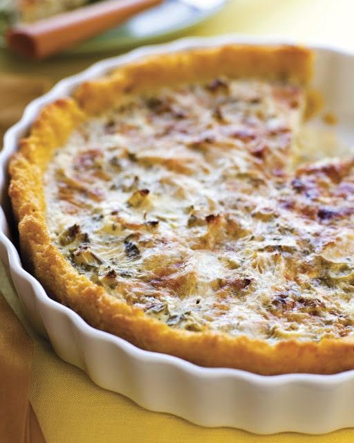 artichoke rosemary tart with polenta