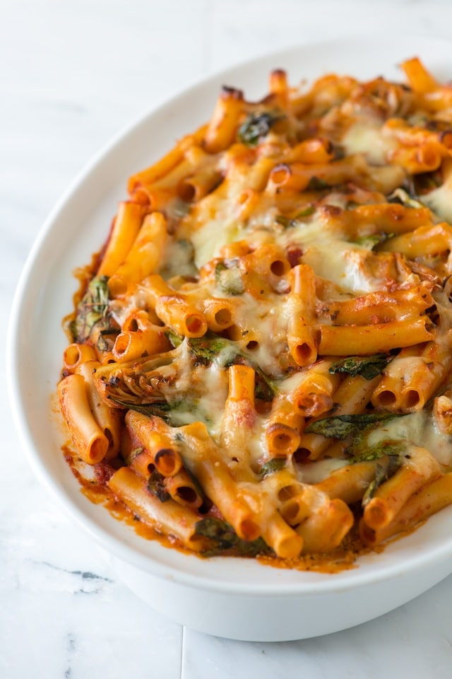 baked ziti with spinach artichokes and pesto